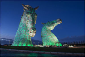 The Kelpies floodlit